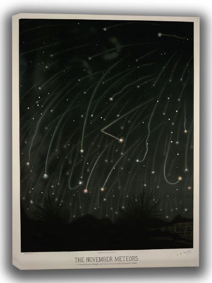 Trouvelot, Etienne Leopold: The November Meteors. (The Trouvelot Astronomical Drawings, 1882). Astronomy/Space Canvas. Sizes: A4/A3/A2/A1 (0013)